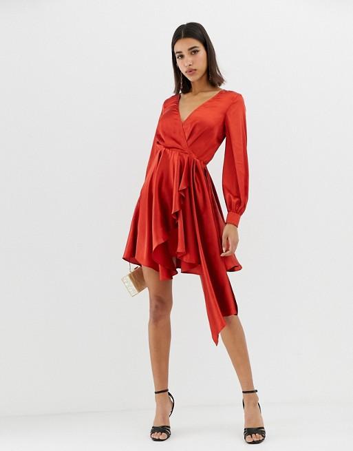 ASOS DESIGN mini dress in satin with flippy skirt at asos.com
