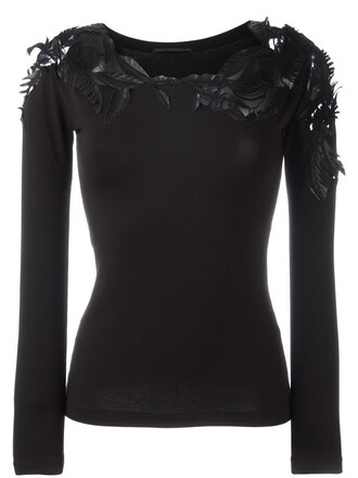 blouse sheer women spandex cotton black leaves top
