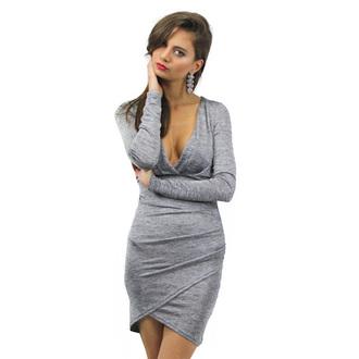 dress wrap skirt wrap grey dress low v neck v neck dress high low high low dress knit dress knitwear fall dress fall outfits lioness wrap dress