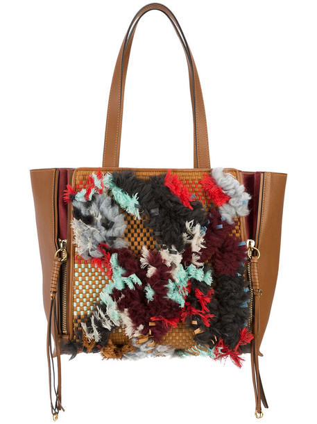 Chloé Chloé - Milo embellished tote bag - women - Leather - One Size, Brown, Leather