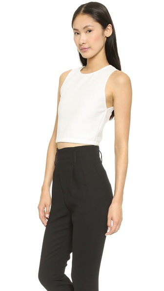 Alice   olivia pire sleeveless fitted crop top