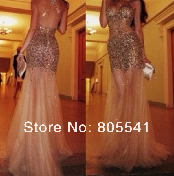 2014 New Sexy Sheath See Through Sleeveless Full Of Beading Satin Sheer Elegant Long Prom Dress PD14021102-in Prom Dresses from Apparel & Accessories on Aliexpress.com