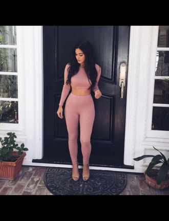 jumpsuit jumper crop tops leggings clothes cute pink