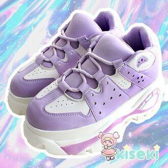 shoes lavender purple fairy kei kawaii sneakers platform shoes platform sneakers