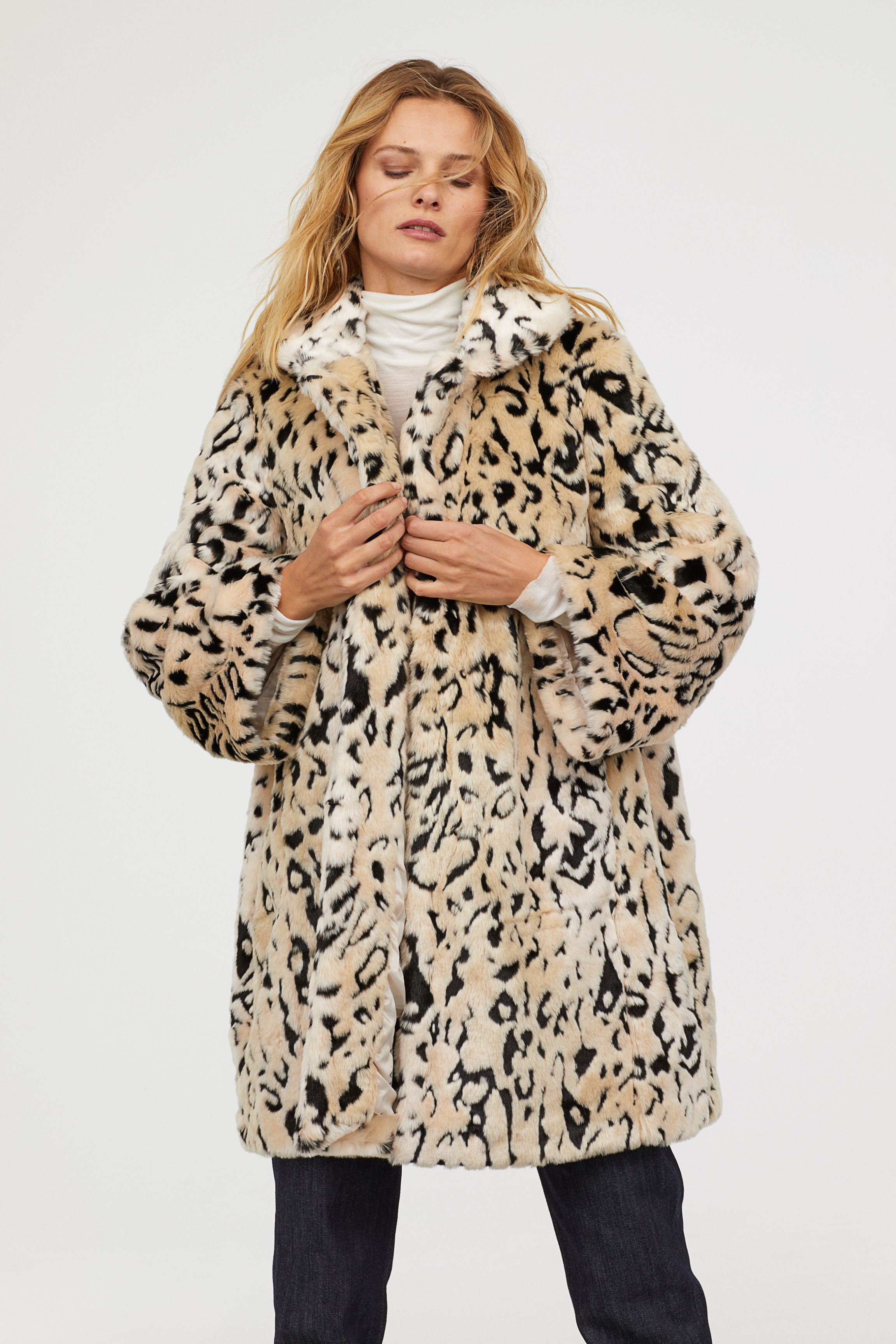 Faux Fur Coat - Light beige/leopard print - Ladies   H&M US