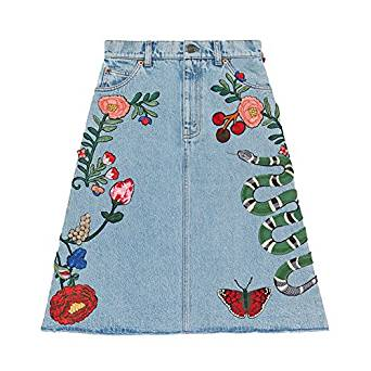 MorySong Women's Blue Embroidery Flowers High Waisted Knee Length Jean Denim Skirts at Amazon Women's Clothing store:
