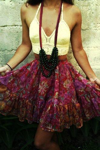 skirt tank top floral skirt crochet crop top beaded necklace