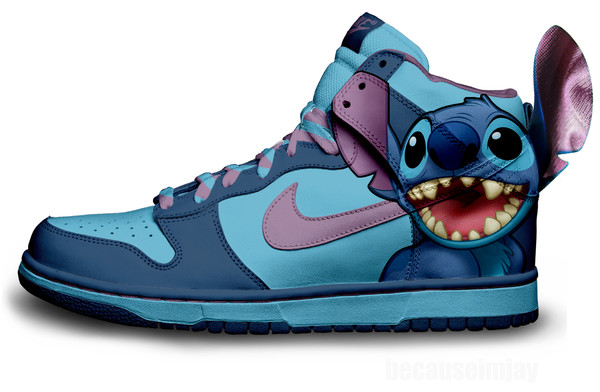 shoes blue nikes stitch disney nike dunks
