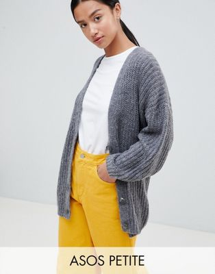 ASOS DESIGN Petite oversize cardigan in chunky rib with buttons at asos.com