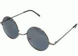 50MM Round Metal Sunglasses Gunmetal Hippie Flower Power