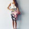 Women's tank top and marilyn monroe printed pencil skirt set