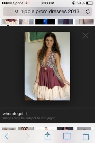 dress purple dress cream sparkle top open chest