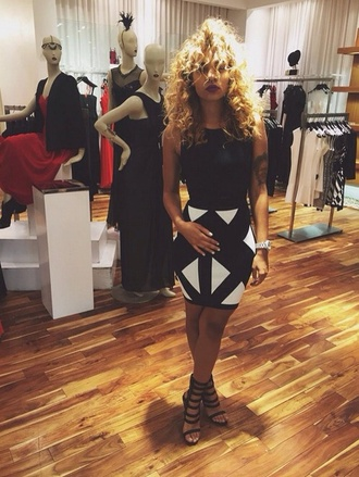 dress african american curly hair skirt bodycon dress black and white black and white dress heels strappy sandals watch dress striped skirt store couture dress