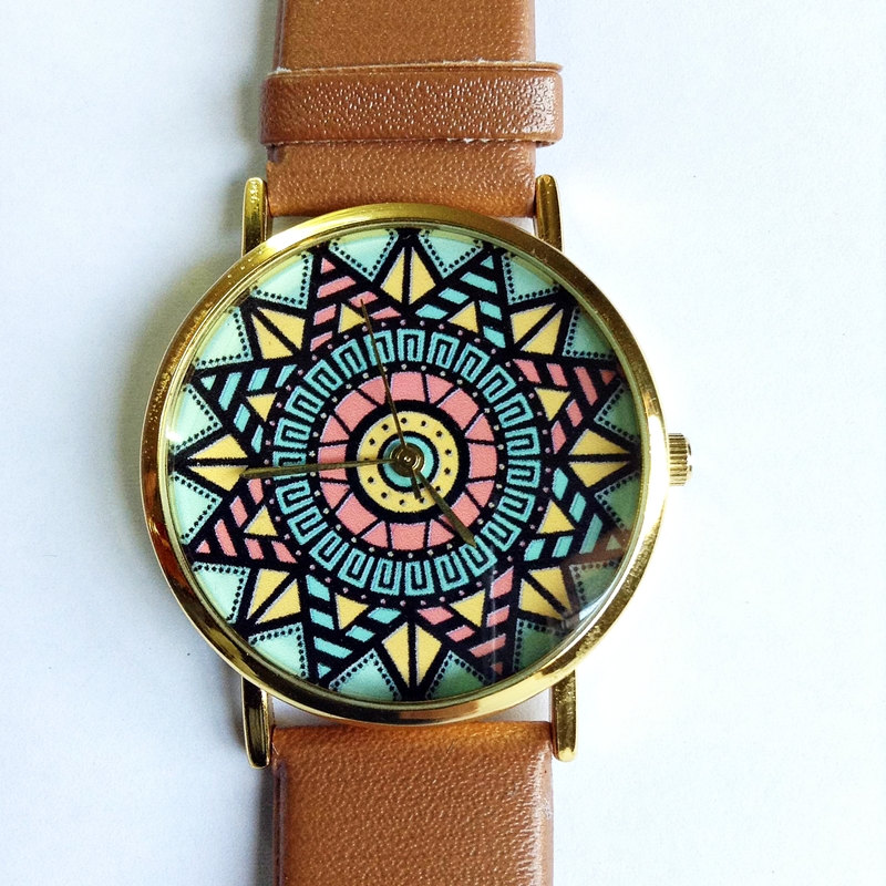Aztec Watch, Vintage Style Leather Watch, Pastels, Women Watches, Unisex Watch, Boyfriend Watch, Tan