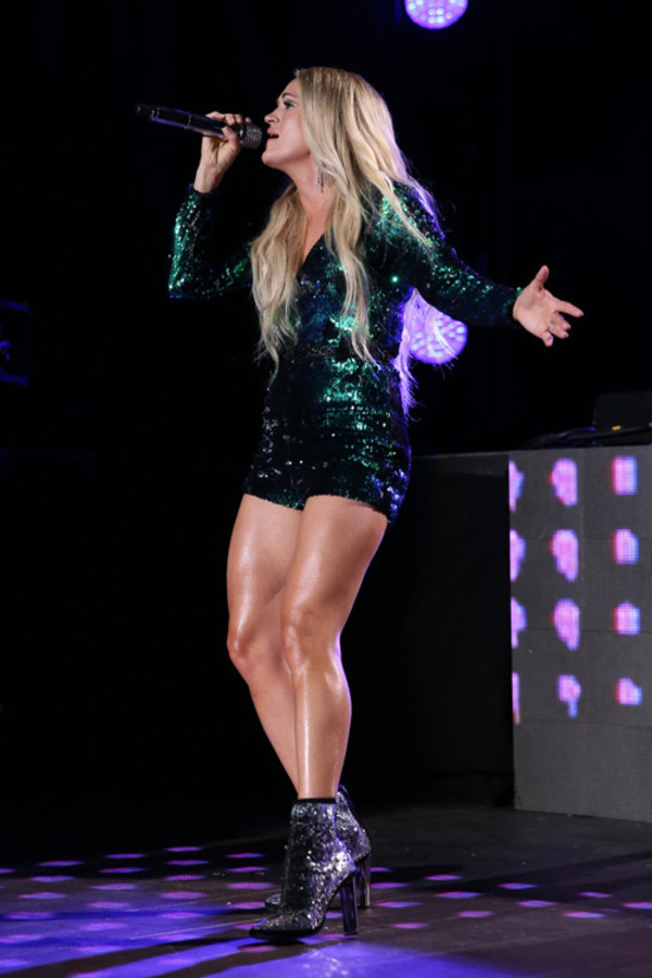 romper sequins sequin dress plunge v neck carrie underwood green booties