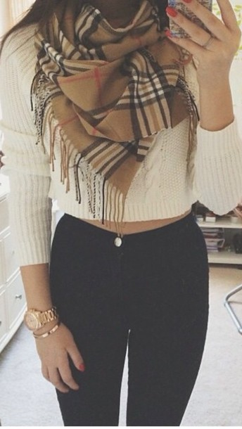 sweater long sleeves scarf top outfit