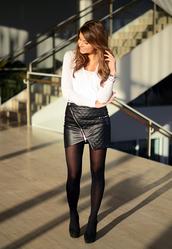 skirt,mariannan,sweden,leather,leather skirt,zip,pu,tights,white shirt