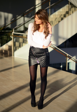 skirt mariannan sweden leather leather skirt zip pu tights white shirt
