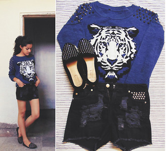 sweater ripped shorts loafers zara fashion blogger shoes smoking slippers