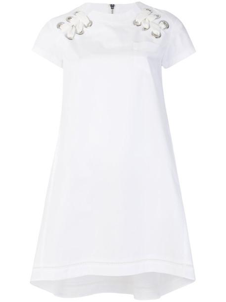 Sacai dress women drawstring white cotton