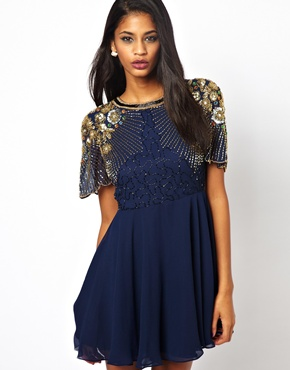 Virgos Lounge | Virgos Lounge Onyx Skater Dress with Embellished Shoulder at ASOS