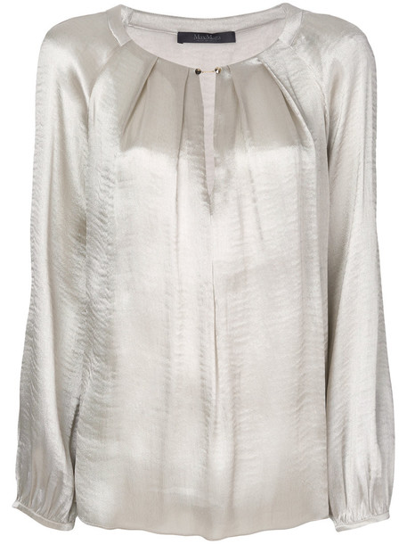 Max Mara - chain fastening pleat blouse - women - Silk/Polyester - 40, Grey, Silk/Polyester in metallic