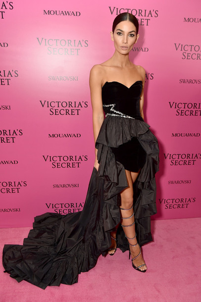 dress gown prom dress black dress high low dress lily aldridge model victoria's secret victoria's secret model strapless