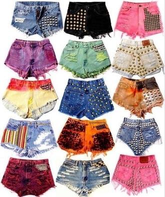 shorts high waisted shorts high waisted denim shorts black shorts studs colorful style studs