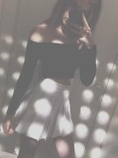 top,black,crop tops,shoulders,tennis skirt,skirt,white or black,school skirt