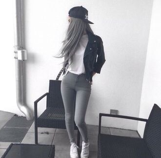 bag swag jacket black grey grey pants black leather jacket leather jacket leather jeans shirt love outfit outfit idea beautiful grey jeans high waisted jeans skinny jeans