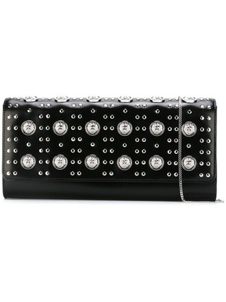 studded lion women clutch black bag