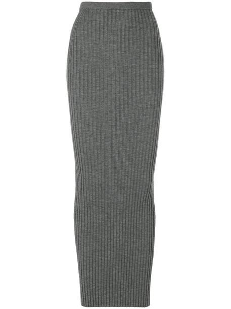skirt women silk wool knit grey