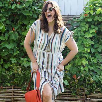 fashion foie gras blogger dress sunglasses bag shoes striped dress
