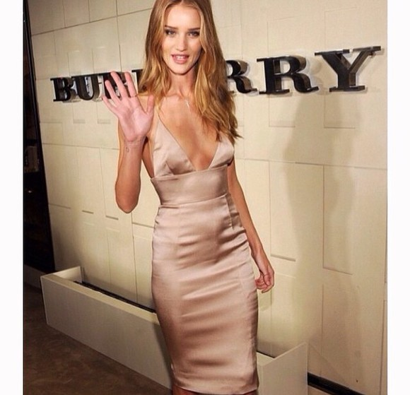 rosie huntington-whiteley champaign silk long bodycon dress