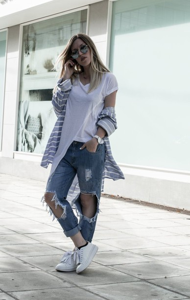 style lime light blogger shirt pants t-shirt shoes asymmetric shirt asymmetrical top white top ripped jeans blue jeans cuffed jeans cardigan stripes mirrored sunglasses sneakers white sneakers low top sneakers