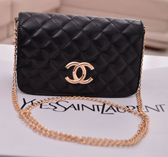 bag gold chanel black inspired chain