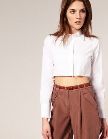 cropped button down