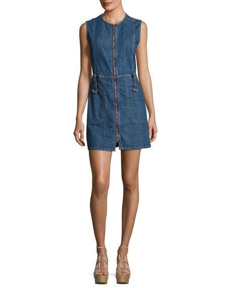 See by Chloe Jewel-Neck Zip-Front Denim Dress, Indigo