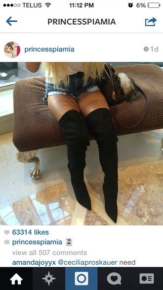 over-the-knee boots suede black boots boots over knee high boots