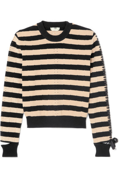 Fendi sweater lace black knit