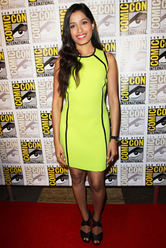 dress neon freida pinto yellow dress