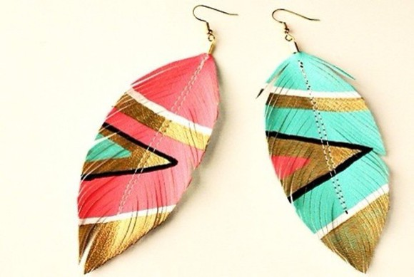 jewels earrings colorful feathers hot pink aqua