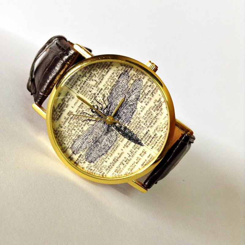 vintage dragonfly watch vintage style leather watch