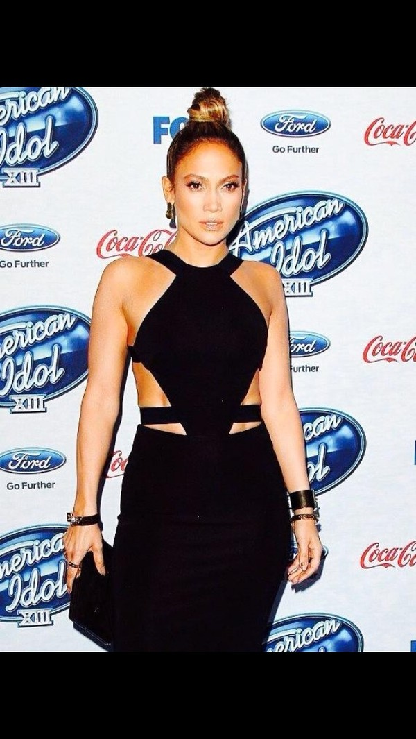 dress black dress jennifer lopez j lo cut-out cut-out dress cut-out cut-out dress
