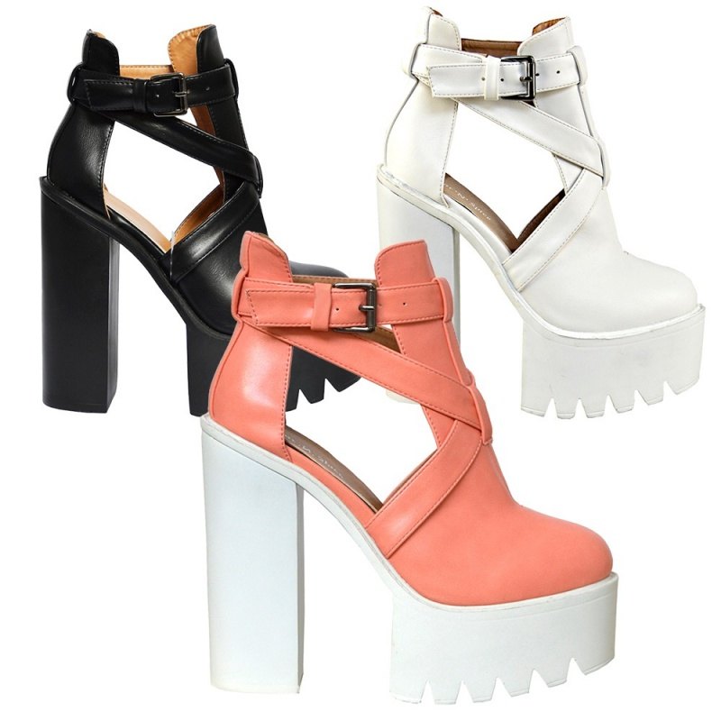 Womens high heel cleated sole boots ladies chunky platform cut out ...