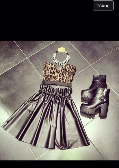skirt crop top black top crop tops boots black black boots high heels high boots fashion necklace trendy trend 2014 2014 summer set