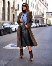 shoes,boots,high heels boots,crocodile,midi skirt,leather skirt,belt bag,coat,turtleneck,denim shirt,earrings,sunglasses