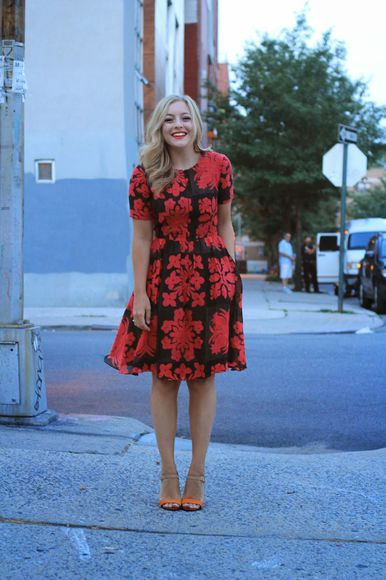 dress summer dress summer outfits floral rachmartino top jewels blogger blogger dress floral dress black red sandals high heels summer shoes crewneck boho boho chic hipster ring smock dress pattern orange new york