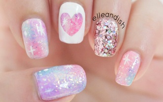 nail accessories pink galaxy print nails nail art cute