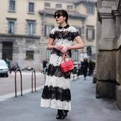 dress,tumblr,maxi dress,long dress,lace dress,black and white,black and white dress,stripes,striped dress,bag,red bag,sunglasses